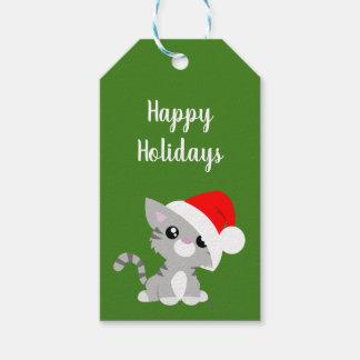 Etiqueta Para Presente Tag cinzentos do presente do gatinho do feriado