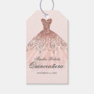 Etiqueta Para Presente Tag cor-de-rosa de Quinceanera do vestido da