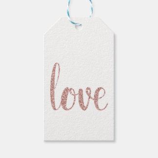 Etiqueta Para Presente Tag cor-de-rosa do favor do amor do ouro, brilho,