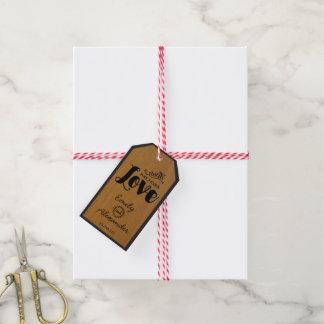 Etiqueta Para Presente Tag de madeira do favor do casamento da tipografia