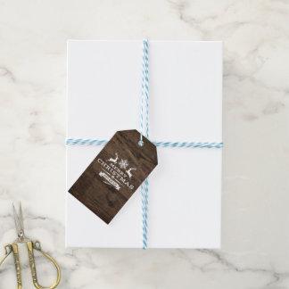 Etiqueta Para Presente Tag de madeira rústico do presente do Feliz Natal