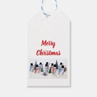 Etiqueta Para Presente Tag do presente da reunião do Natal dos bonecos de