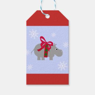 Etiqueta Para Presente Tag do presente de época natalícia do Hippopotamus