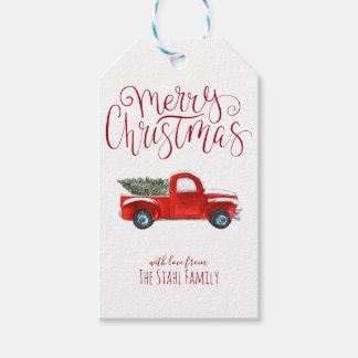 Etiqueta Para Presente Tag do presente do Natal - caminhão do vermelho do