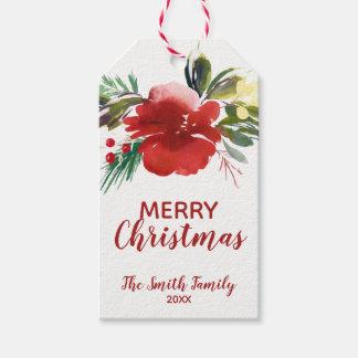 Etiqueta Para Presente Tag do presente do Natal da aguarela