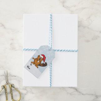 Etiqueta Para Presente Tag do presente do Natal do castor do papai noel