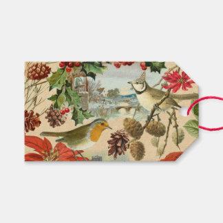 Etiqueta Para Presente Tag do presente do natal vintage com pássaros e