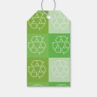 Etiqueta Para Presente Tag do presente do teste padrão do reciclagem