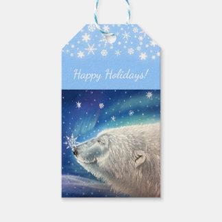 Etiqueta Para Presente Tag do presente dos flocos de neve do urso polar