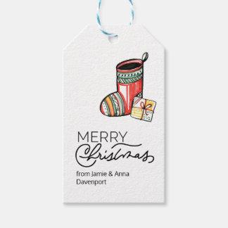 Etiqueta Para Presente Tag feito sob encomenda do Natal com meias da