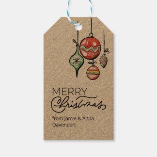 Etiqueta Para Presente Tag feito sob encomenda do Natal com ornamento da