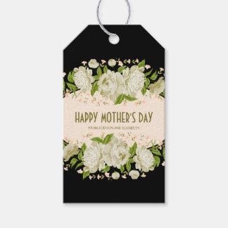 Etiqueta Para Presente Tag feliz floral de creme do presente do dia das