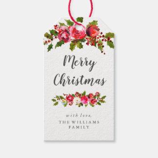 Etiqueta Para Presente Tag florais do presente do Natal da folha do