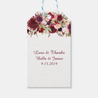 Etiqueta Para Presente Tag florais vermelhos do presente do favor do