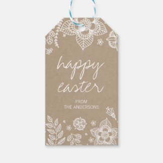 Etiqueta Para Presente Tag floral rústico do presente do felz pascoa de