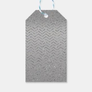 Etiqueta Para Presente Tag Glittery de prata do presente do ziguezague