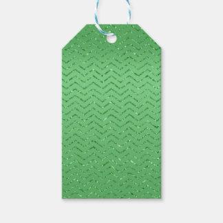 Etiqueta Para Presente Tag Glittery verde do presente do ziguezague