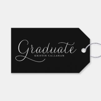 Etiqueta Para Presente Tag minimalista preto do presente da graduação do