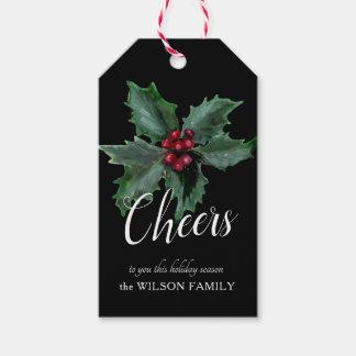 Etiqueta Para Presente Tag personalizado elegante do presente do azevinho