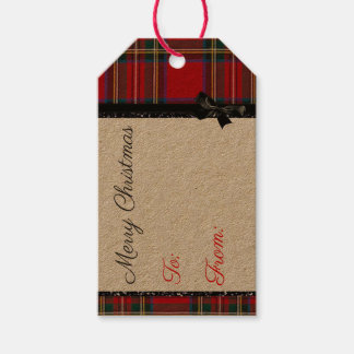 Etiqueta Para Presente Tag preto e vermelho do Natal da xadrez do