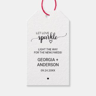 Etiqueta Para Presente Tag pretos do Sparkler do casamento da caligrafia