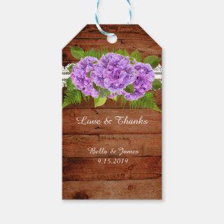Etiqueta Para Presente Tag roxo do presente do favor do Hydrangea do laço