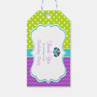 Etiqueta Para Presente Tag verde e roxo do pavão bonito do presente