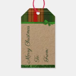 Etiqueta Para Presente Tag verde e vermelho do Natal da xadrez do