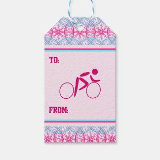 Etiqueta Para Presente Teste padrão azul cor-de-rosa da roda de bicicleta