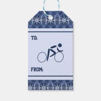 Etiqueta Para Presente Teste padrão azul da roda de bicicleta do ciclista