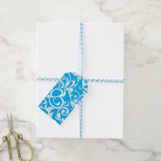Etiqueta Para Presente Teste padrão azul tropical do redemoinho do papel