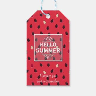 Etiqueta Para Presente Teste padrão da melancia, horas de verão  