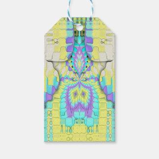 Etiqueta Para Presente Teste padrão de néon festivo vibrante do abstrato