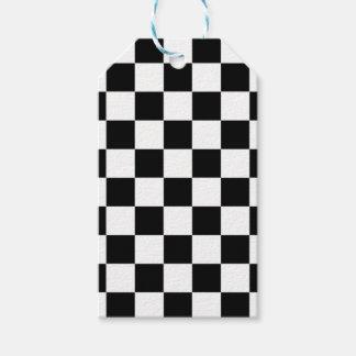 Etiqueta Para Presente teste padrão do tabuleiro de xadrez preto e branco