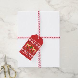 Etiqueta Para Presente Teste padrão feio do Natal dos Antlers amarelos de
