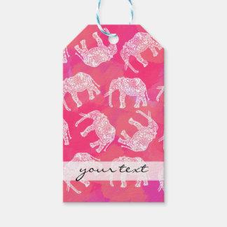 Etiqueta Para Presente teste padrão floral tribal colorido cor-de-rosa