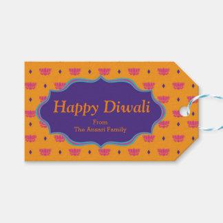Etiqueta Para Presente Teste padrão indiano colorido Diwali