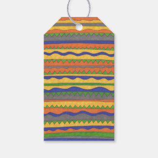 Etiqueta Para Presente Teste padrão tribal asteca colorido