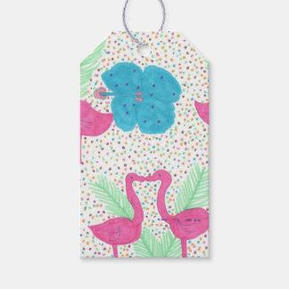 Etiqueta Para Presente Teste padrão tropical do divertimento do flamingo