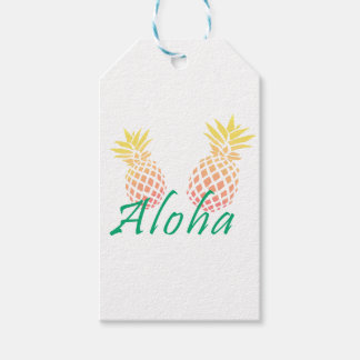 """Etiqueta Para Presente texto tropical do verão """"aloha"""", abacaxi colorido"""