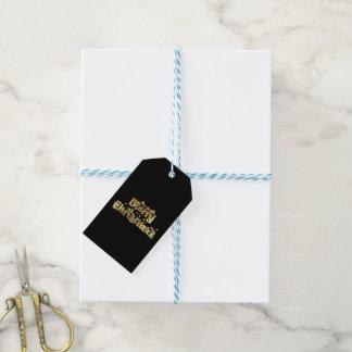 Etiqueta Para Presente Tipografia preta estrelado do ouro do Feliz Natal