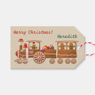 Etiqueta Para Presente Trem Doce-Polvilhado bonito do Natal do