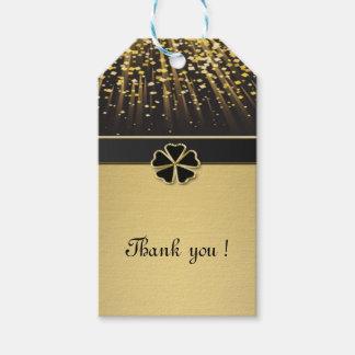 Etiqueta Para Presente Trevo irlandês elegante elegante, confete do ouro