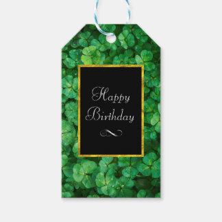 Etiqueta Para Presente Trevos verdes com aniversário do quadro da folha
