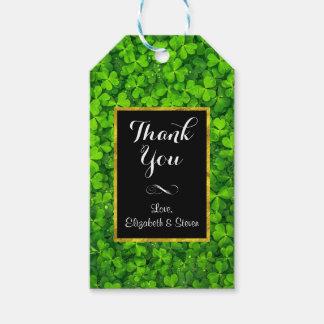 Etiqueta Para Presente Trevos verdes com o obrigado do quadro da folha de