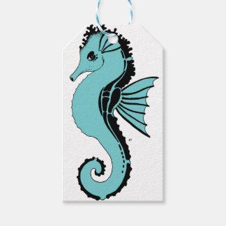 Etiqueta Para Presente turquesa do cavalo marinho