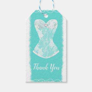 Etiqueta Para Presente Turquesa & partido de chá Glam branco da lingerie