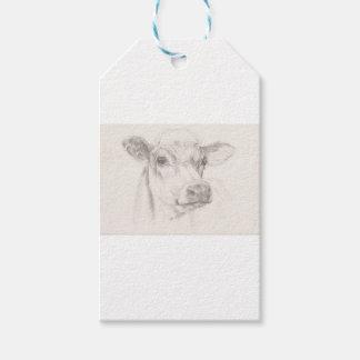 Etiqueta Para Presente Um desenho de uma vaca nova