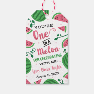 One In A Melon Birthday Favor Tag