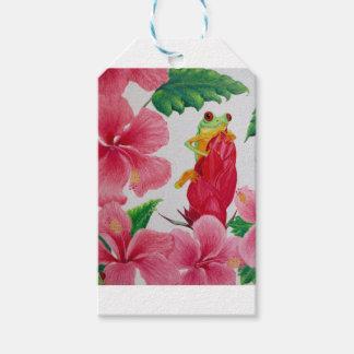 Etiqueta Para Presente Um sapo de árvore verde entre o hibiscus
